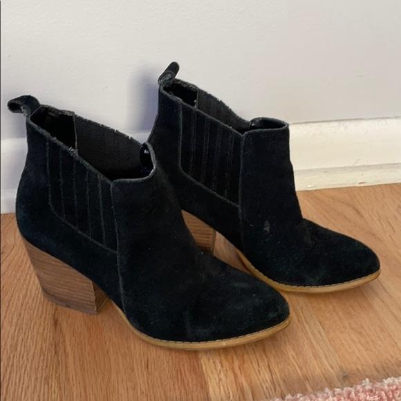 Crown black suede booties